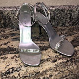 Amanda Smith silver rhinestone stilettos
